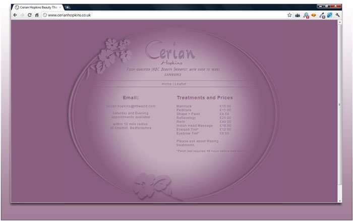 Website for Cerian Hopkins Beauty Therapy